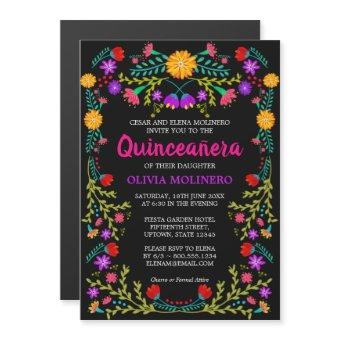 Mexican Folk Art Black Colorful Floral Quinceanera Magnetic Invitation