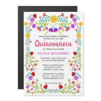 Mexican Folk Art Colorful Floral Quinceanera Magnetic Invitation