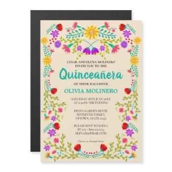 Mexican Folk Art Floral Champagne Quinceanera Magnetic Invitation