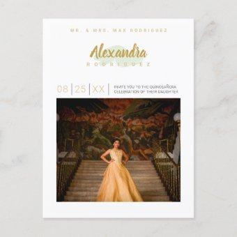 Mint Green and Gold Photo Quinceanera Invitation Postcard