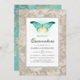 Mint Green and Pearl Damask Quinceañera Invitation