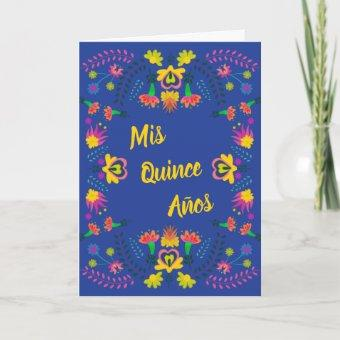 Mis Quince Anos Blue Floral Mexican Fiesta Party Invitation
