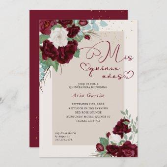Mis Quince Anos Burgundy Ivory Floral Quinceanera Invitation