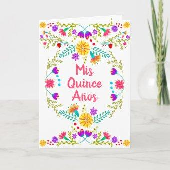 Mis Quince Anos Mexican Fiesta Floral Quinceanera Invitation