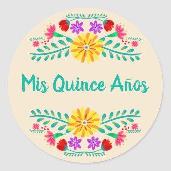 Mis Quince Anos Mexican Floral Party Invitation Classic Round Sticker