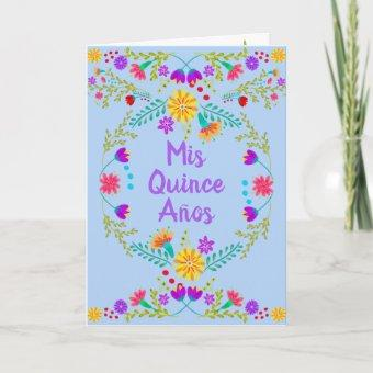 Mis Quince Anos Mexican Light Blue Quinceanera Invitation