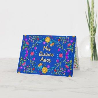 Mis Quince Anos Mexican Royal Blue Quinceanera Invitation
