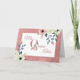Mis Quince Anos Pink Glitter Flower Letter Floral Invitation