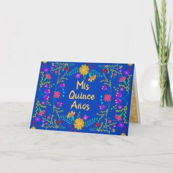Mis Quince Anos Royal Blue Quinceanera Mexican Invitation