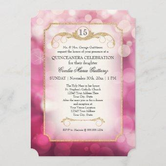 Modern Bokeh Sparkle Pink Twinkle Quinceanera Invitation