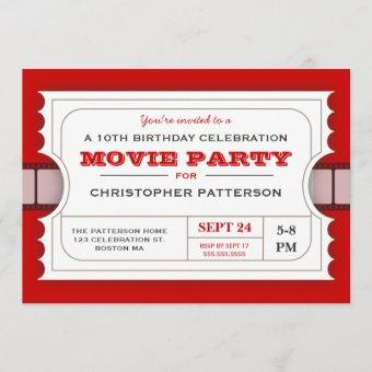 Movie Party Birthday Party Admission Ticket Invitation