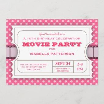 Movie Party Birthday Party Admission Ticket | Pink Invitation