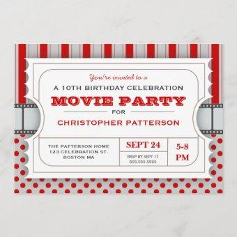 Movie Party Birthday Party Admission Ticket | Red Invitation