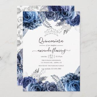Navy and White with Silver Foil Floral Quinceañera Invitation
