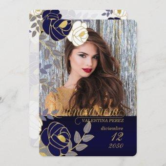 Navy Blue Floral Spanish Quinceanera with Photo Invitation