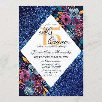 Navy Blue Glitter Floral Watercolor Mis Quince Invitation