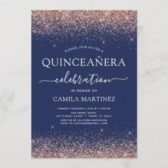 Navy Blue Quinceanera Rose Gold Blush Pink Invitation