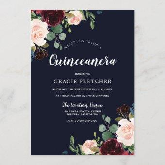 Navy & Burgundy Red Flowers Quinceanera Party Invitation