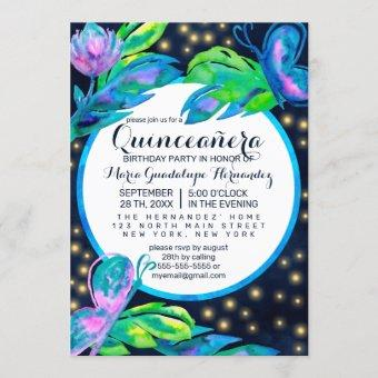 Navy Butterfly Floral Leaf Watercolor Quinceañera Invitation