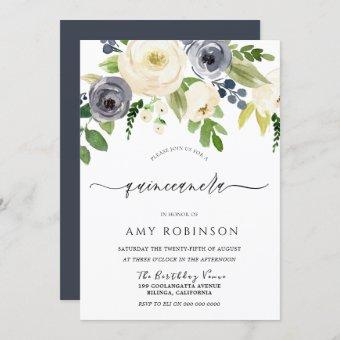 Navy & Champagne Watercolor Flowers Quinceanera Invitation
