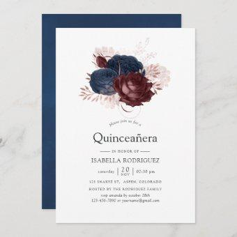 Navy, Maroon and Rose Gold Floral Quinceañera Invitation