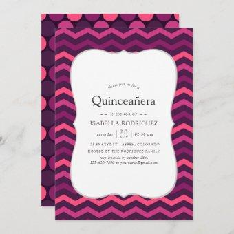 Neon effect purple and pink Quinceanera Invitation