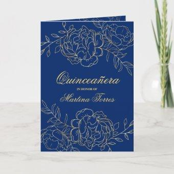 Opulent Gold and Royal Blue Floral Quinceanera Invitation