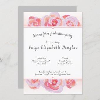 Peach & Pink Graduation Invitations with Gray Back