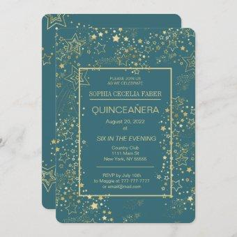 Peacock Blue and Gold Quinceañera Party Invitation