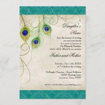 Peacock Feathers Aqua Damask Quinceanera Party Invitation