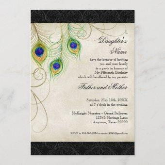 Peacock Feathers Black Damask Quinceanera Party Invitation