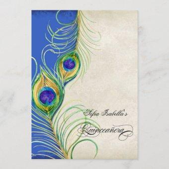 Peacock Feathers Blue Damask Quinceanera Party Invitation