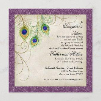 Peacock Feathers Purple Damask Quinceanera Party Invitation