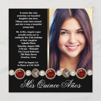 Pearls Ruby Red Black Gold Photo Quinceanera Invitation