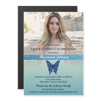 Photo Quinceanera Glitter Blue Butterfly Magnetic Invitation