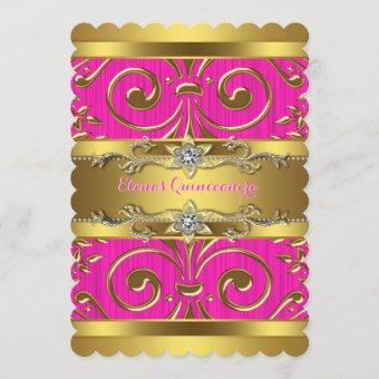 Pink and Gold Quinceanera Invitation
