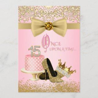 Pink and Gold Quinceanera Princess 15th Birthday Invitation
