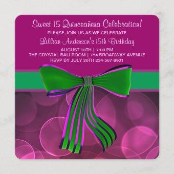 Pink and Green Quinceanera Invitation