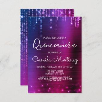 Pink and Purple Modern Quinceanera Party Invitation