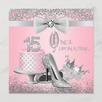 Pink and Silver Quinceanera Birthday Party Invitation
