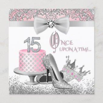 Pink and Silver Quinceanera Princess 15th Birthday Invitation