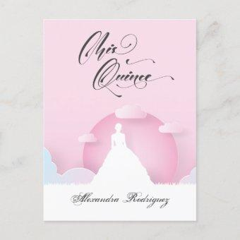 Pink and White Silhouette with Moon Quinceanera Invitation Postcard