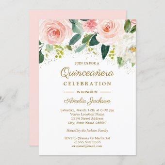 Pink Blush Gold Watercolor Floral Quinceanera Invitation