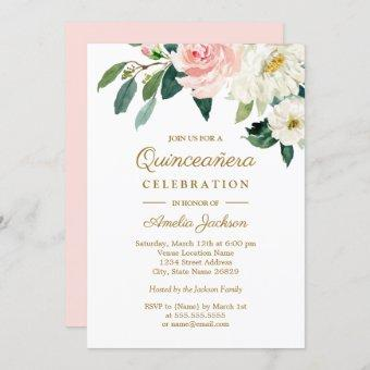 Pink Blush Watercolor Floral Quinceanera Invitation