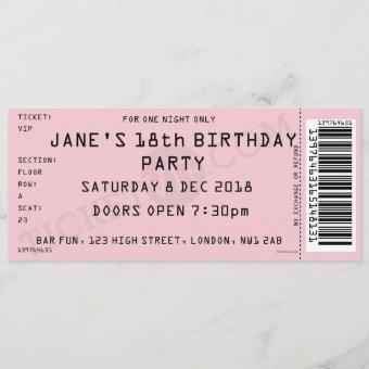 Pink Concert Ticket Party Invitation