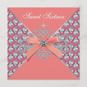 Pink Coral Diamonds Coral Sweet 16 Birthday Party Invitation