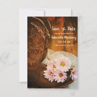 Pink Daisies Boots Quinceañera Save the Date