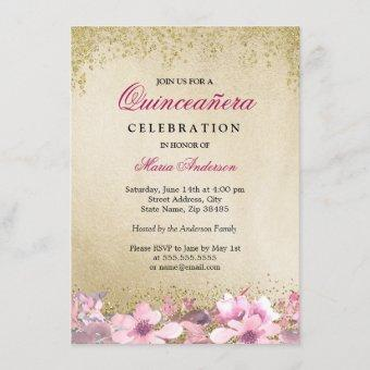Pink Floral Gold Glitter Shimmer Quinceanera Invitation