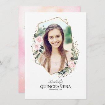 Pink Flower and Gold Confetti Quinceanera Photo Invitation