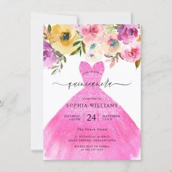 Pink Glitter Dress Colorful Flowers Quinceanera  Invitation